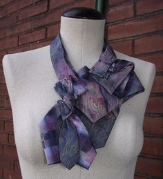 Prudence- Handstitched Upcycled Necktie Collar Scarf Necklace- Niagara