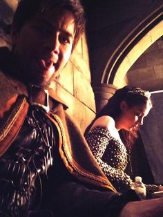 Bash (Torrance Coombs) and Mary (Adelaide Kane) behind the scenes in Reign on the CW