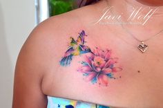 Javi Wolf Tattoo- watercolor hummingbird with lily Girly Tattoos, Mom Tattoos, Pretty Tattoos, Unique Tattoos, Beautiful Tattoos, Body Art Tattoos, Small Tattoos, Tattoos For Women, Colorful Tattoos