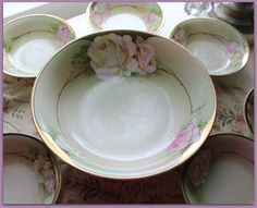 Beautiful hand painted Berry bowl set with pink roses Lovely by ROSESdePARIS on Etsy