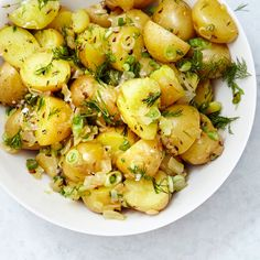 (MADE March 2015. So good! Great for a crowd or potluck. Didn't specify whether to serve hot or cold, served hot and it was great. Dill, 2 kinds of onions, can't go wrong!) German potato salad