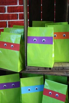 Photo 2 of Teenage Mutant Ninja Turtles Party. Cute and easy treat bag idea! My GIRL likes Ninja Turtles.