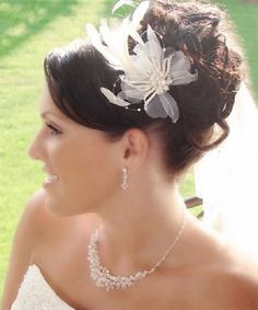 High curly loose updo for wedding