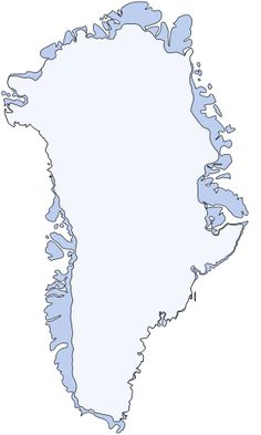 Map of Greenland and the countour of Sermersuaq, the Ice Cap. The Greenland ice sheet (Danish: Grønlands indlandsis, Greenlandic: Sermersuaq) is a vast body of ice covering 1,710,000 square kilometres (660,000 sq mi), roughly 80% of the surface of Greenland.  It is the second largest ice body in the world, after the Antarctic ice sheet. The ice sheet is almost 2,400 kilometres (1,500 mi) long in a north-south direction, and its greatest width is 1,100 kilometres (680 mi)
