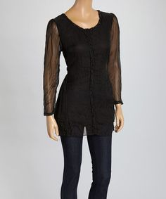 Love this Black Crinkle Silk-Blend Top by Pretty Angel on #zulily! #zulilyfinds