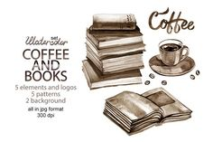 Watercolor coffee and books Graphics Here's what you get:5 elements and logos,5 seamless patterns,2 background,All illustrations by aquarelloaquarelle