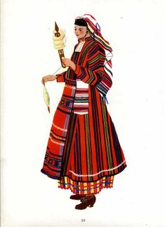 Женска народна носия от Харманлийско Spanish Costume, Mexican Costume, Folk Costume, Costumes, Folk Clothing, Medieval Clothing, Bulgarian, Traditional Outfits, Culture