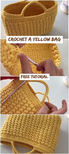 Crochet Crochet A Yellow Bag Free Tutorial Love, A Yellow Bag Free Tutorial How To Crochet A Yellow Bag Free Video Tutorial knitting, crochet, carpet weaving, weaving. Crochet Handbags, Crochet Purses, Crochet Crafts, Crochet Yarn, Crotchet, Diy Crafts, Crochet Carpet, Crochet Market Bag, Love Crochet