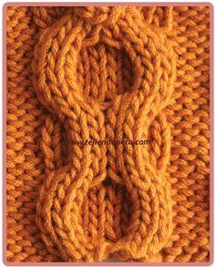 Galeria de puntos 4: Trenzas, ochos, cuerdas - Tejiendo Perú Cable Knitting Patterns, Knitting Basics, Simply Knitting, Knitting Stiches, Baby Knitting, Crochet Patterns, Knit Slippers Free Pattern, Knit Headband Pattern, Knitted Slippers
