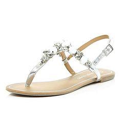 Silver gemstone embellished sandals £35.00