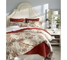 Wonder if this duvet cover would work with the colors in our room...Charlie Paisley Organic Duvet Cover, Full/Queen, Red  www.buytrimdownfiber.com