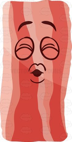 A strip of bacon blowing kisses #cartoon #clipart #vector #vectortoons #stockimage #stockart #art