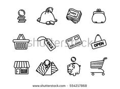 Vector business shopping line icons set.