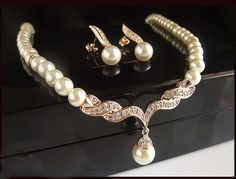 Gold Plated Pearl Bridal Jewelry Set