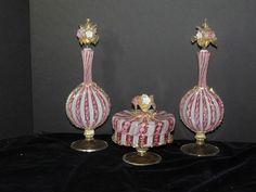 Murano Venetian Glass Latticino Aventurine Powder Box Perfume Bottles Salviati