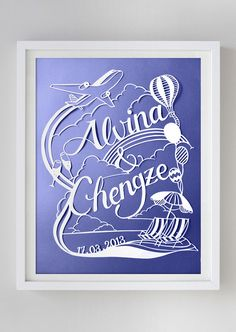 Custom papercut is a truly special, one of a kind art piece made to order. It is a perfect gift for wedding, baby shower, birthday, anniversary and