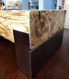 Fatto a mano legno recuperato & acciaio Tavolino di MadeFromWoodd
