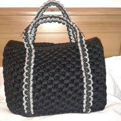 Crochet by milunar: bolso trapillo plata