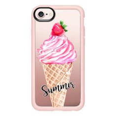 Summer Ice-Cream in Pink with a Strawberry - iPhone 7 Case And Cover ($40) ❤ liked on Polyvore featuring accessories, tech accessories, iphone case, iphone cases, pink iphone case, clear iphone case and apple iphone case