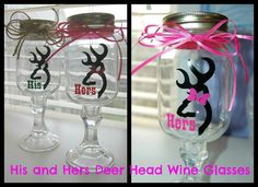 His and Hers Deer Head Redneck Wine GlassesSET by lyricalletters, $25.00