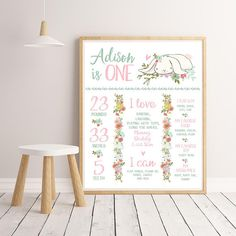 Printable milestone board with cute little bunny and floral elements. __________________________________________________________________ MATCHING Some Bunny birthday items (invitation, welcome sign and more): http://etsy.me/2mGM5Rt