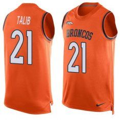 2016 nike nfl denver broncos 21 aqib talib orange men stitched limited tank top jersey