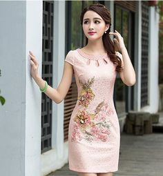 Pink Lace Covered Reformed Cheongsam Mini Chinese Dress with Floral Appliques - iDreamMart.com