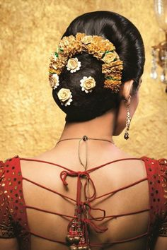Indian wedding hair - bun with flowers