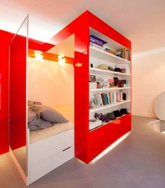 Small Room Storage Ideas: Simple And Cheap: Stunning Modern Style White Red Small Room Storage Ideas ~ ootgo.com Bedroom Designs Inspiration