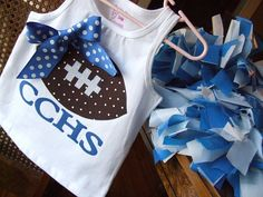 Football Applique with your school name!!  This DIY applique kit comes with yor choice football (dot or solid), choice of ribbon color (if needed) and your choice school letters (up to 4).  Also, available in sew on or iron on only backing.