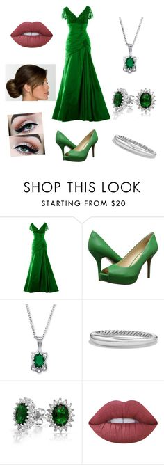 """Ball outfit #7"" by barbaramark ❤ liked on Polyvore featuring Nine West, Palm Beach Jewelry, David Yurman, Bling Jewelry and Lime Crime"