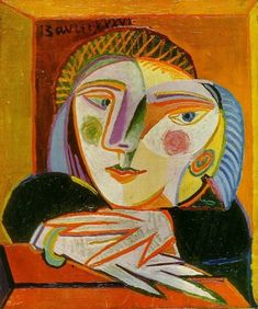 Abstract and very colorful bust portrait of Marie-Thérèse Walter by Pablo Picasso. Portrait Picasso, Art Picasso, Picasso Paintings, Cubist Portraits, Picasso Style, Painting Portraits, Watercolor Portraits, Painting Art, Cubist Movement
