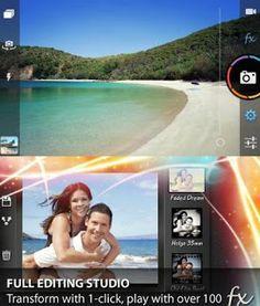 Andrea // ésta es la apariencia de Pudding Camera en la pantalla del móvil. Como podéis ver, tenemos opciones similares a otras aplicaciones cómo el uso de filtros, pero también menús referentes a valores cómo la apertura, el enfoque...