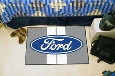 Ford Oval Gray Stripe Area Rug