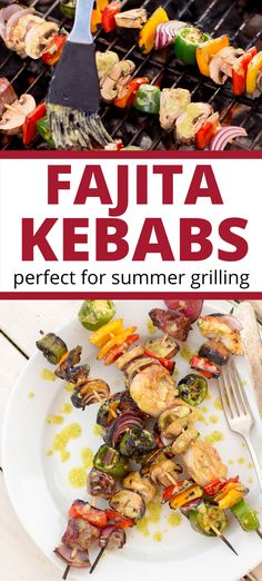 These fajita kebabs are a great summer grilling recipe. These chicken and vegetable kebabs are enhanced with a cilantro lime marinade that makes them one of the tastiest skewer recipes you can find. Summer Grilling Recipes, Healthy Summer Recipes, Healthy Dinner Recipes, Best Mushroom Recipe, Mushroom Recipes, Skewer Recipes, Appetizer Recipes, Mushroom Side Dishes