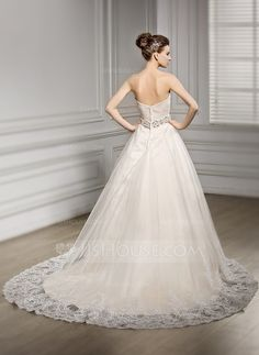 Vestidos princesa/ Formato A Coração Cauda de sereia Tule Vestido de noiva com Bordado Apliques de Renda Lantejoulas (002056608)