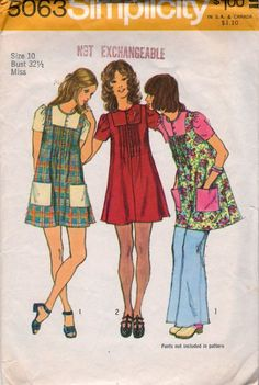 1970s Simplicity 5063 Misses Front Tucked Mini Smock Dress Pattern womens hippie dress vintage sewing pattern by mbchills
