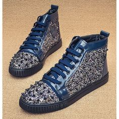 Navy Lace Up Sequin Spike Studded Punk Rock High Top Shoes Boots Men SKU-1280059