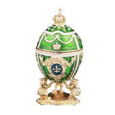 Decorative Faberge Egg Trinket Jewel Box Russian Emperor's Crown 2.8'' 7cm green