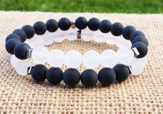 COUPLES Bracelets Yinyang Bracelet Quartz  Matte Black Bracelet Stacking Gifts For Him Gifts For Her Gemstones Bracelets Beaded Bracelet