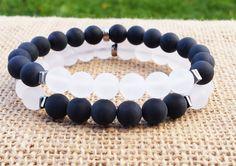COUPLES Bracelets Yinyang Bracelet Quartz  Matte Black Bracelet Stacking Gifts For Him Gifts For Her Gemstones Bracelets Beaded Bracelet