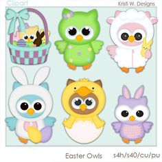 DIGITAL SCRAPBOOKING CLIPART  Easter Owls by BoxerScraps on Etsy, $1.00