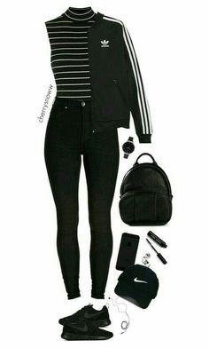 Black sporty chic outfit – Outfits For Summer – Summer Outfits 2019 Sporty Chic Outfits, Outfits Casual, Teen Fashion Outfits, Swag Outfits, Mode Outfits, Summer Outfits, Girl Outfits, Sporty Fashion, Sporty Chic Style