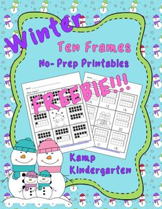 FREEBIE!!!!   Ten Frames No-Prep Printables (Quantities of 11 to 20)  #Freebie  #FREE  #KampKindergarten  #Winter  #TenFrames  http://www.teacherspayteachers.com/Product/Winter-No-Prep-Printables-Ten-Frames-FREEBIE-Quantities-of-11-to-20-1621552