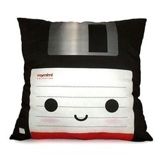 Decorative Deluxe Pillow, Classic Vintage Retro Toy Pillow - Black Floppy Disk. $38.00, via Etsy.