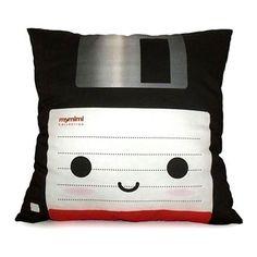black floppy disk pillow