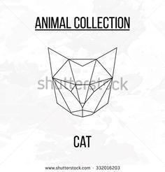 Geometric vector animal cat head background Mehr