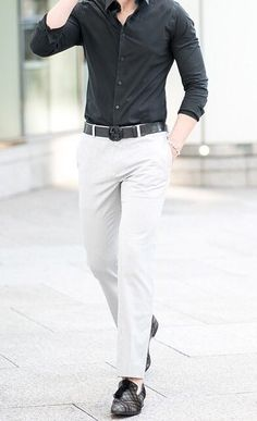 Black Shirt With White Chinos - Best Outfit For Chinos