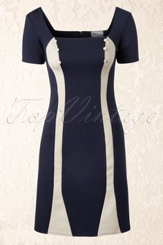 50s Mamie Two Tone Wiggle Dress in Navy &amp