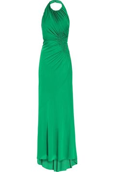 Issa|Ruched crepe halterneck gown